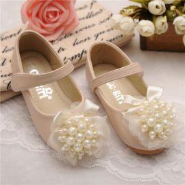 **韩版甜美公主鞋 外贸广州品牌童鞋 乖乖女孩珍珠花真皮单鞋