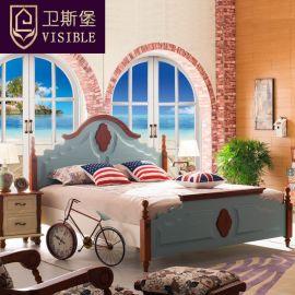 卫斯堡 6602地中海床蓝色1.8米美式乡村特价实木床高箱储物床双人床1.5米