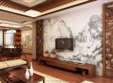 2016年最流行客廳電視背景牆裝飾 大理石紋山水紋瓷磚背景牆 藝術陶瓷壁畫