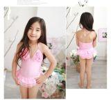 粉色女童连身裙装泳衣配泳帽,儿童比基尼
