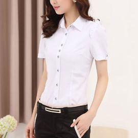 大码显瘦半袖寸衫工作服夏季职业装白衬衫女短袖修身职业衬衣纯色