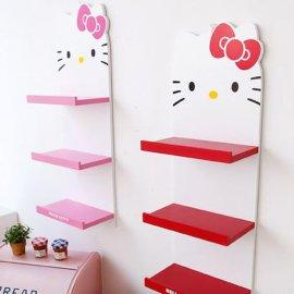 厂家批发hello kitty整理架三层木质隔板收纳置物架
