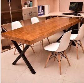 实木简易办公桌椅  老板洽谈桌  卡座沙发