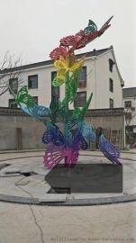 不锈钢彩绘蝴蝶雕塑/园林景观雕塑