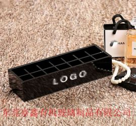 收纳盒限量黑色专柜亚克力桌面收纳盒 三格化妆刷桶