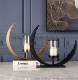 新古典裝飾燭臺擺件  客廳歐式插花器 創意金屬花瓶