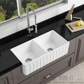 陶瓷白色廚房水槽大尺寸雙槽菜盆圍裙臺下安裝洗衣槽
