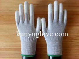 碳纤维PU涂掌手套/防静电手套/安全防护手套/PU手套/碳纤维ESD手套