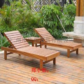 厂家直销户外沙滩椅、酒店游泳池木躺椅、休闲木沙滩椅
