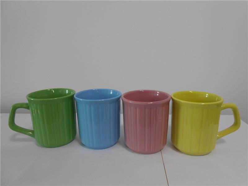新款束纹陶瓷色釉马克杯11oz免费提供样品