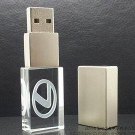 方形发光水晶U盘,创意USB随身碟,礼品U盘