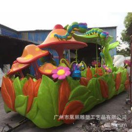 戶外兒童遊樂雕塑 玻璃鋼戶外花車雕塑玻璃鋼彩繪火車模型
