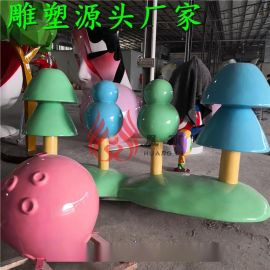 玻璃钢雕塑 卡通棒棒糖植物球企鹅雕塑定制厂家 景观雕塑定制厂家