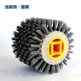 廠家直銷十字膠磨料拋光輪碳化矽滾刷平行輪刷工業毛刷100*100