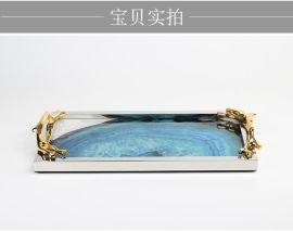 天然蓝色玛瑙石图案收纳托盘样板间摆件创意客厅现代简约家居饰品