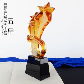 五星荣耀琉璃水晶奖杯 高档银行经理高级部门主管表彰纪念摆件