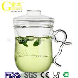 广东厂家直销耐热防爆加厚过滤办公私人冲茶杯三件盖杯
