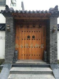 西安仿古实木大门、老榆木门、中式铜钉大门、定做厂家