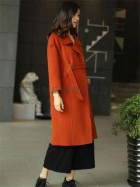 新款優質高端雙面昵大衣品牌女裝折扣店批發找廣州明浩