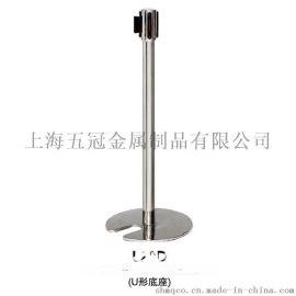 五冠金属制品一米线栏杆座批发 不锈钢U型铸铁底座拉伸头 一米线伸缩隔离带[L20D]