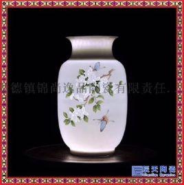 景德镇陶瓷半刀泥手绘玲珑花瓶摆件和为贵客厅电视柜装饰品