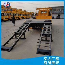 东风蓝牌挖掘机运输车 载装机拖车液压双节爬梯托运车