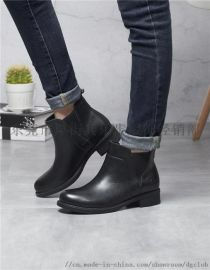 新款欧美风真皮马丁靴粗跟短靴中帮休闲女靴