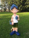 戶外花園庭院樹脂擺件 卡通人物藍莓小孩樹脂工藝品