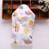 宝宝夹棉纱布抱被 冬季纱布包被 可爱保暖被子