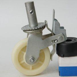 6寸脚手刹车架轮/双轴静音脚轮/ 高密度聚乙烯脚轮