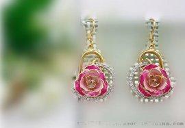 黛雅专柜心形镶钻耳环,三色可选(款式十)厂家直销