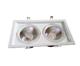 双头LED豆胆灯 LED格栅灯2*30W暖光24度发光酒店射灯