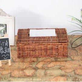 馨乐藤编方形纸巾盒