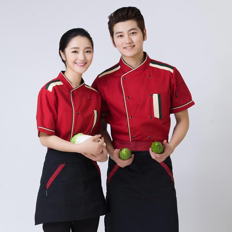 春夏装后厨工服糕点面包酒店厨师服短袖厨师工作服新款厨师长工装