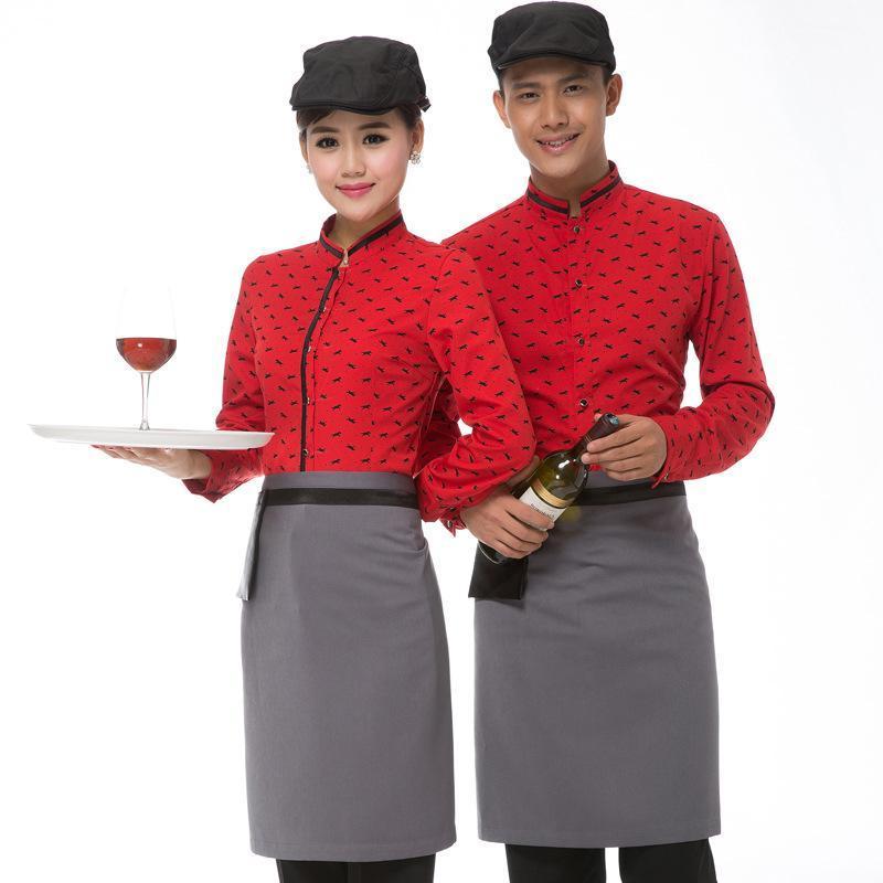 供應秋冬新款酒店工作服西式餐廳  員工作服長袖咖啡廳工作制服