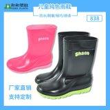 廠家直銷純色可愛兒童雨鞋 中筒防滑加厚PVC男女大童雨靴耐磨水鞋
