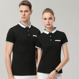 夏季polo衫**企业工作服翻领t恤班服定制印logo文化衫短袖工衣