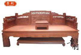 东阳鲁创红木厂家直销花梨木罗汉床、东阳木雕、红酸枝红木家具、全实木家具等