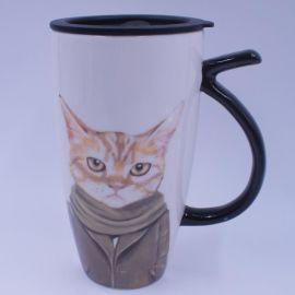 复古创意杯 卡通猫陶瓷杯 陶瓷个人杯 企业加印logo 个性定制