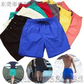 广东厂家直销螺纹松紧腰沙滩棉短裤