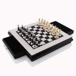 黑白黃色正方形國際象棋高端裝飾擺件裝飾實木棋盤歐式樣板間擺件