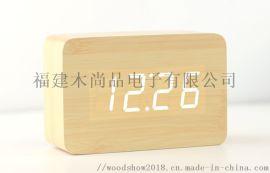 木頭鍾LED聲控鬧鍾創意夜光靜音萬年歷座鍾溫溼度