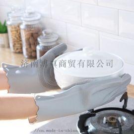 女防水耐磨耐用加厚带刺刷碗家务手套神器
