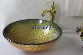 手绘艺术钢化玻璃洗手盆 洗漱盆 梳妆盆 台上盆 艺术盆 N-117