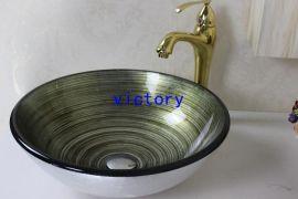 手绘艺术钢化玻璃洗手盆 台上艺术盆套装 洗漱盆 简约现代盆 N-116