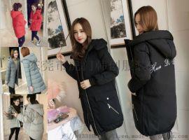 广州便宜女装棉衣外套冬季棉袄中长款羽绒棉服清货