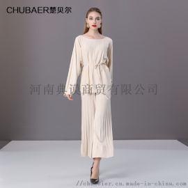 楚貝爾秋冬米白色針織套裝女長袖針織毛衣兩件套闊腿褲