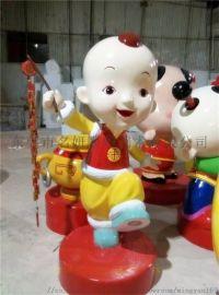 做定春节玻卡通玻璃钢吉祥物雕塑