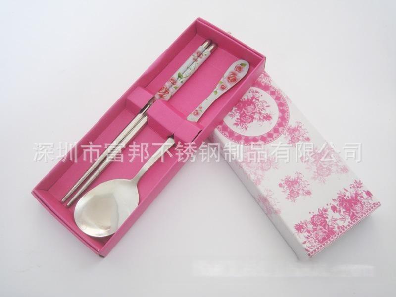 不鏽鋼勺筷兩件套,葫蘆柄勺筷兩件套,貼花勺筷兩件套