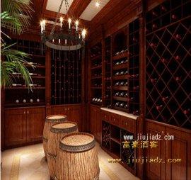 别墅酒窖红橡木红酒架定制厂家